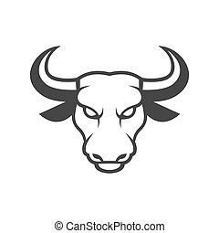 handlowy, twarz, tło., wektor, byk, biały, logo., ikona