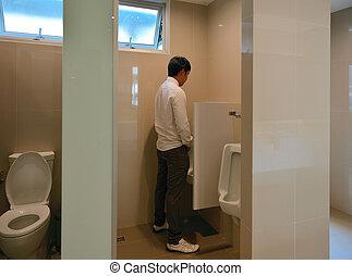 handlowy, urinates, osoba, asian, łazienka, człowiek