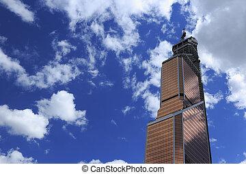 handlowy, wieża, pod zbudowanie
