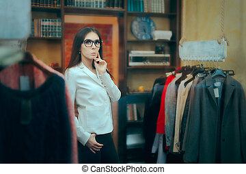 handlowy, wnętrze, szef, przedsiębiorca, samica, właściciel, mały, zaopatrywać