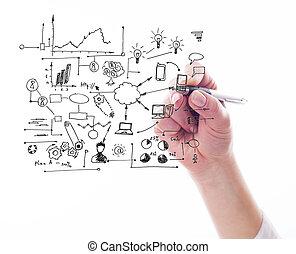 handlowy, wręczać pisanie, dużo, proces