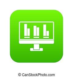 handlowy, wykres, ekran, komputer, zielony, cyfrowy, ikona