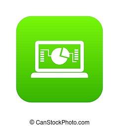 handlowy, wykres, laptop, zielony, cyfrowy, ikona