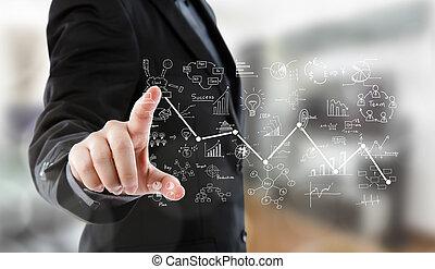 handlowy, wykres, nowoczesny, wysoki, groźny, tech, typ, człowiek
