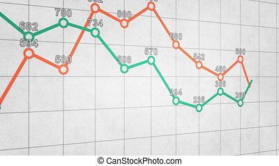 handlowy, wykres, wykres, seamless, ożywienie, pętla