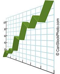 handlowy, wykres, wykresy, wysoki wzrost, dane, wstążka