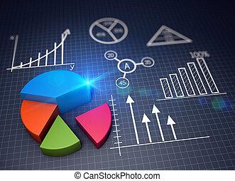 handlowy, wykres, wzrost