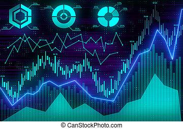 handlowy, wykres, z, wykresy