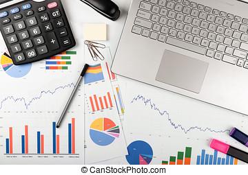 handlowy, -, wykresy, analiza, wykresy, miejsce pracy, dane