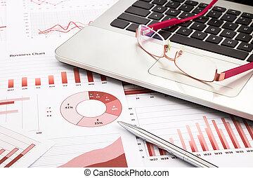 handlowy, wykresy, wykresy, praca badawcza, laptop, czerwony, okulary