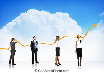 handlowy wzrost, i, powodzenie, wykres