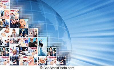 handlowy zaludniają, collage, tło.
