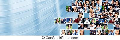 handlowy zaludniają, drużyna, collage.