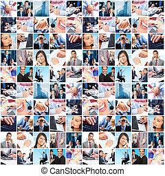 handlowy zaludniają, grupa, collage.
