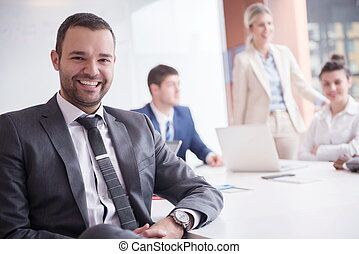 handlowy zaludniają, grupa, na, biuro