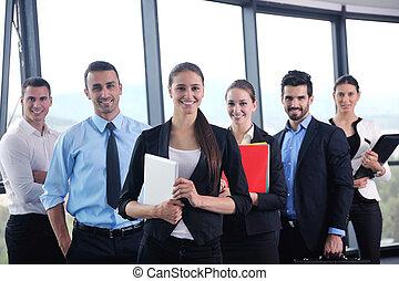 handlowy zaludniają, grupa, w, niejaki, spotkanie, na, biuro