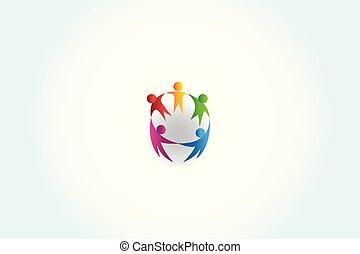 handlowy zaludniają, logo, jedność, wektor, teamwork, dzierżawa wręcza, projektować