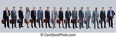 handlowy zaludniają, -, młody, team., pociągający, elita