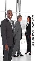 handlowy zaludniają, na pracy, w, biuro