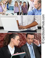 handlowy zaludniają, na pracy
