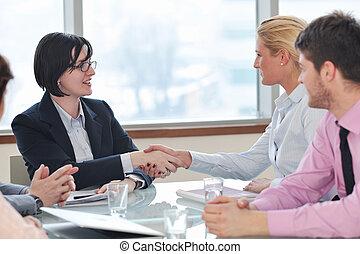 handlowy zaludniają, na, spotkanie