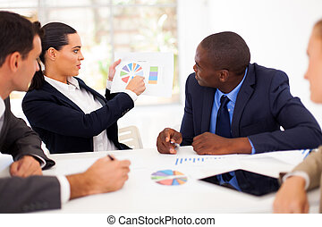 handlowy zaludniają, posiadanie, spotkanie