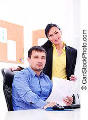 handlowy zaludniają, pracujący, biuro