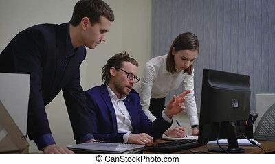 handlowy zaludniają, pracujący, w, na, biuro