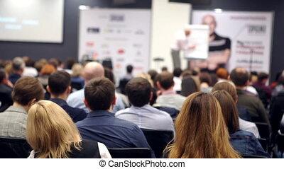 handlowy zaludniają, seminarium, konferencja spotkanie, biuro, trening, pojęcie