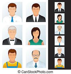 handlowy zaludniają, set., ikony, różny, peoples.