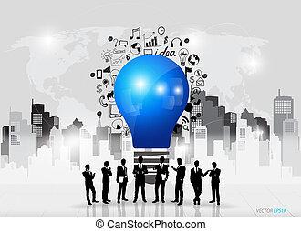 handlowy zaludniają, sylwetka, i, lekka bulwa, jak, natchnienie, pojęcie, z, rysunek, wykres, i, wykresy, handlowa strategia, plan, pojęcie, idea, (building, background), wektor, ilustracja