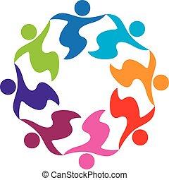 handlowy zaludniają, teamwork, dzierżawa wręcza, logo