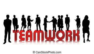 handlowy zaludniają, teamwork