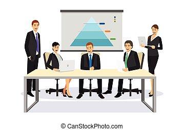 handlowy zaludniają, w, niejaki, spotkanie, ilustracja