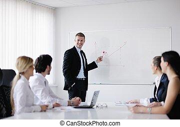 handlowy zaludniają, w, niejaki, spotkanie, na, biuro