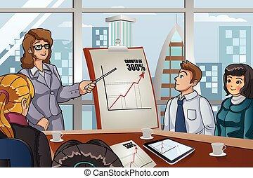 handlowy zaludniają, w, niejaki, spotkanie