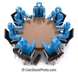 handlowy zaludniają, -, za, sesja, stół, spotkanie, okrągły, 3d