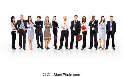 handlowy zaprzęg, utworzony, od, młody, biznesmeni, stanie na drugą, niejaki, białe tło