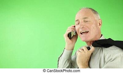 handlowy, zaufany, ekran, telefon, zielony, senior, kaukaski, człowiek