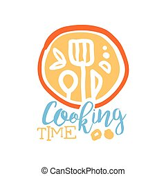 Handmade Abstract Cooking Logo Template With Cutlery