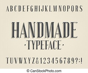 Handmade alphabet font. Vintage letters and numbers. Stock ...