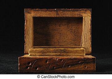 Handmade Ancient Vintage Wood Box on a Black Background