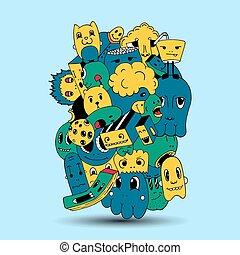 Handmade and doodles elements background.T-shirt and sweatshirt design. Vector illustration