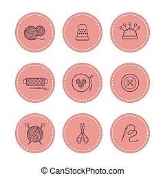 Handmade and sewing badges set vector illustration