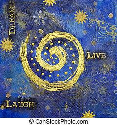 handmade artwork - collage artwork with golden spiral,...