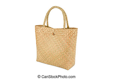 Handmade bag made from dried water hyacinth isolated on white background, Basketry water hyacinth, Beautiful water hyacinth basketry