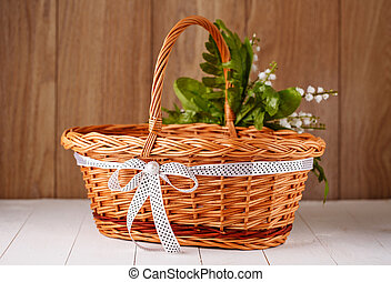 handmade bamboo basket decorated with flowers