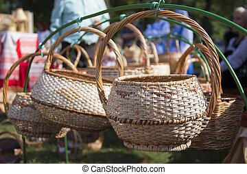 Handmade baskets of birch bark.