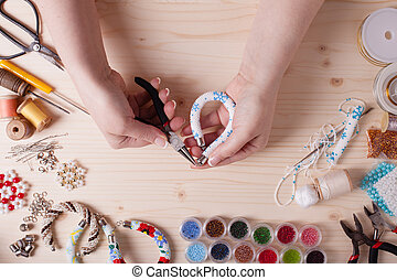 Handmade beading preparation - Beads and tools for creating...