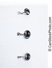 Handmade black glass beads